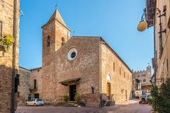 CERTALDO,ITALY - SEPTEMBER 21,2018 - View at the church of Saints Jacopo and Filippo in Certaldo. Certaldo is a town and comune of stock photos