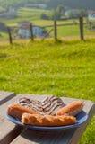 Certas pastelarias em uma placa, exterior em uma tabela do jardim Fotografia de Stock Royalty Free