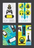 Certical Kartendesign der Videospiele und der Gamers Zubehör für das Spielen als Prüfer und Steuerknüppel, Kopfhörer, gamepad Kar vektor abbildung