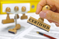 Certifié Photo stock