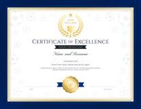 Certificação do tema do esporte do molde da excelência ilustração royalty free