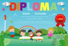 Certifica la guardería y la plantilla elemental, preescolar del diseño del modelo del certificado del diploma de los niños, plant stock de ilustración
