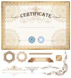 Certificaat of couponmalplaatje met uitstekende grens Stock Foto