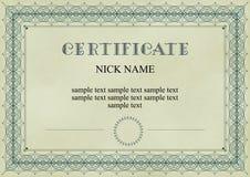 Certificaat, diploma voor af:drukken Stock Afbeelding