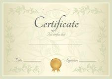 Certificaat/Diplomaachtergrond (malplaatje) Royalty-vrije Stock Afbeeldingen
