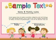Certificaat met gelukkige kinderenachtergrond Royalty-vrije Stock Afbeelding
