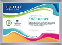 Certificaat met modieus kleurrijk golfontwerp stock illustratie