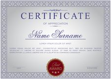 Certificaat van horizontaal formaat in een klassieke elegante stijl royalty-vrije illustratie