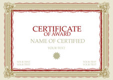 Certificaat van Toekenning Stock Foto