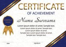 Certificaat van voltooiing of diploma Elegante lichte achtergrond stock illustratie