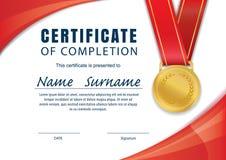 Certificaatmalplaatje, diploma, A4 grootte, vector Stock Afbeelding