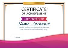 Certificaatmalplaatje, diploma, A4 grootte, vector Stock Fotografie
