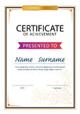 Certificaatmalplaatje, diploma, A4 grootte, vector Royalty-vrije Stock Foto