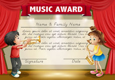 Certificaatmalplaatje met jonge geitjes die muziek op stadium spelen royalty-vrije illustratie