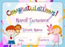 Certificaatmalplaatje met jongen en meisje stock illustratie