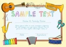 Certificaatmalplaatje met muzikale instrumenten royalty-vrije illustratie