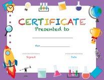 Certificaatmalplaatje met schoolvoorwerpen royalty-vrije illustratie