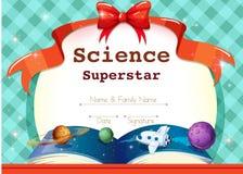 Certificaatmalplaatje met wetenschapsthema stock illustratie