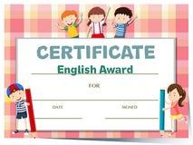 Certificaatmalplaatje voor Engelse toekenning met vele jonge geitjes stock illustratie