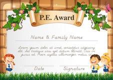 Certificaatmalplaatje voor PE toekenning stock illustratie
