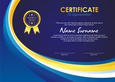Certificaatsjabloon met modieus golfontwerp stock illustratie