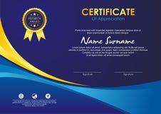 Certificaatsjabloon met modieus golfontwerp vector illustratie