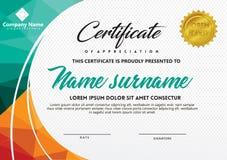 Certificaatsjabloon met veelhoekige stijl en moderne patroon vectorillustratie vector illustratie