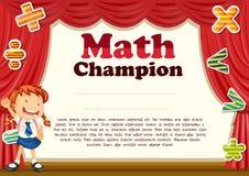 Certificación con la muchacha y el tema de la matemáticas libre illustration