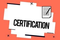 Certificación de la escritura del texto de la escritura Significado del concepto que provee alguien el documento oficial que ates stock de ilustración
