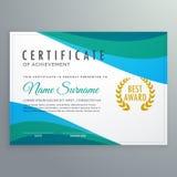 Certificado azul abstrato da onda do projeto do molde da realização ilustração royalty free