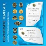 Certificado azul creativo y moderno con la insignia fotos de archivo libres de regalías