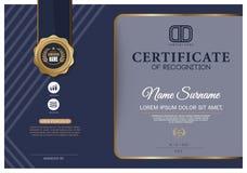 Certificado azul marino, plantilla del certificado del vector Foto de archivo