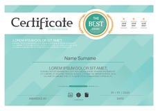 Certificado azul, plantilla del certificado del vector, estilo moderno Imagen de archivo
