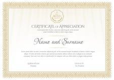 certificado Beira da moeda do diploma do molde Comprovante de presente do fundo da concessão ilustração do vetor