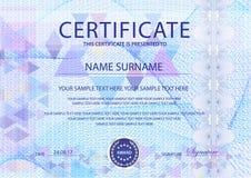 Certificado com luz - fundo azul Projete o molde com guilloche azul, filigrana abstrata das linhas tênues do teste padrão ilustração stock