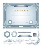 Certificado con los elementos del diseño Fotografía de archivo