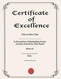 Certificado da excelência Imagem de Stock Royalty Free