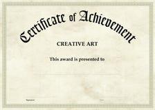 Certificado da realização - arte criativa Fotografia de Stock