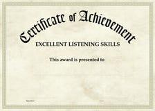 Certificado da realização - escuta excelente Fotos de Stock Royalty Free
