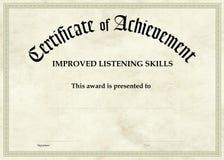Certificado da realização - escuta melhorada Foto de Stock