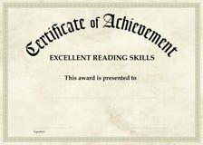 Certificado da realização - leitura excelente Fotografia de Stock Royalty Free