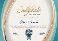 Certificado da realização Paisagem molde ilustração stock