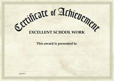 Certificado da realização - trabalho da escola Fotos de Stock