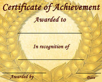 Certificado da realização Fotografia de Stock