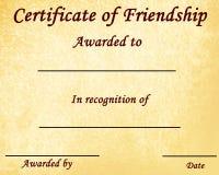 Certificado de amistad Imagen de archivo