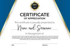 Certificado de aprecio o de logro con la insignia del premio Plantilla superior del vector para los premios y los diplomas stock de ilustración