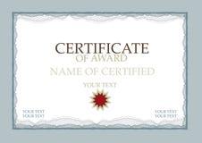 Certificado de azul de la concesión Imagen de archivo libre de regalías