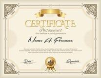 Certificado de bastidor del oro del vintage del logro Imágenes de archivo libres de regalías