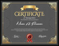 Certificado de bastidor del oro del vintage del reconocimiento Imagenes de archivo