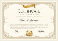 Certificado de bastidor del vintage del logro con la cinta del oro Paisaje Foto de archivo libre de regalías
